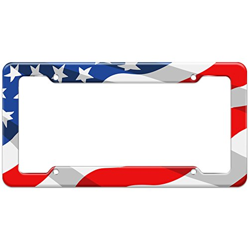 Graphics and More Blank United States Patriotic Flag Pattern License Plate Frame