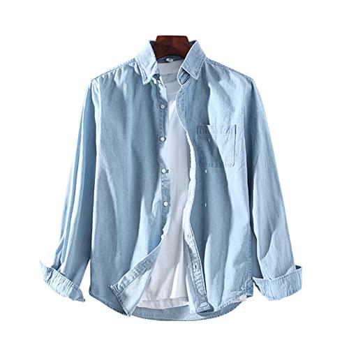 Camisa vaquera para hombre, camisa informal de manga larga con bolsillo en el pecho, transpirable, camisa de trabajo de algodón para primavera y otoño