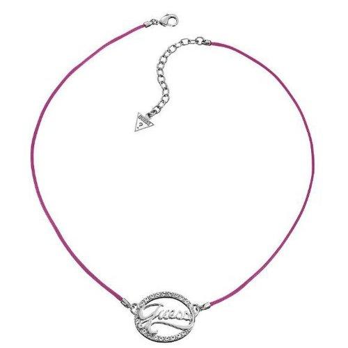 GUESS Damen-Halsband Edelstahl rhodiniert Stoff Zirkonia weiß UBN21207