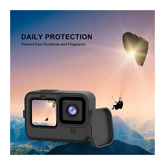 Kupton Accessories Kit Bundle Compatible with GoPro HERO9, Waterproof Housing + Glass Screen Protector + Silicone Case… 4 📷【60m/196ft Waterproof Housing Case】Kupton housing case has tight buckle and upgraded waterproof seal, providing ultimate protection for your GoPro during extreme outdoor activities and deep-water diving. 📷【Silicone Case Set】New Version Bundle compatible with GoPro HERO9 adds daily protection set for your camera, including silicone sleeve case, lanyard as well as silicone lens cap. Silicone protective case with light but strong materials fits your camera snugly. Lanyard well solves the problem of carrying for outdoor video activity. 📷【Tempered Glass Screen Protector】Tempered glass protector with a thickness of only 0.3mm brings crystal viewing experience, protecting screen and lens of your camera from dust, fingerprints, drops, scratches and bumps.