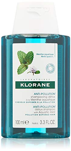 Klorane Detox Shampoo with Aquatic Mint for Dull Pollution-Exposed Hair, 3.3 Fl Oz
