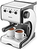 Espresso Machine 15 Bar Espresso Maker with Milk Frother Wand for Cappuccino, Latte and Mocha,1050W,Stainless Steel/black