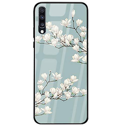 Handyhülle Compatible with Samsung Galaxy A50 Hülle TPU Grenze Gehärtetes Glas Rückseitige Tasche Anti-Scratch Schutzhülle Cover für Samsung Galaxy A50 Smartphone – Schöne Blumen (Samsung A50, 3)