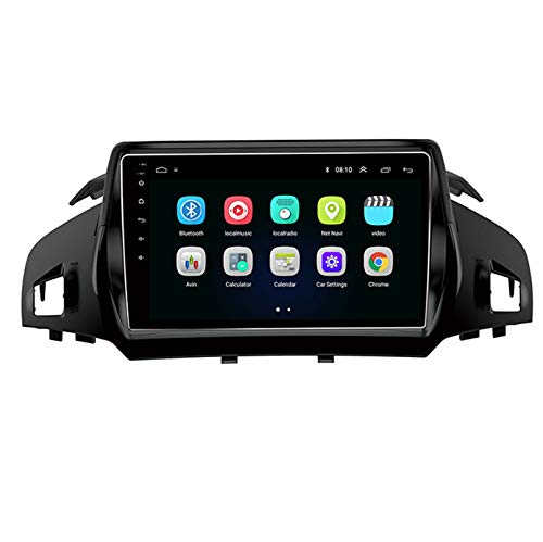 Android 9.1 8 Core 2.5D Pantalla Car Radio estéreo navegación por satélite radio DVD Control del volante Reproductor de video multimedia Navegación GPS para Ford Escape 2013-2017(Color:WiFi 1G+16G)