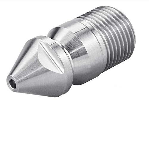 SNAGAROG Rohrreinigungsdüse Edelstahl Kanalreinigungsdüse Kanalisation Jetter Düse, Außengewinde 3/8 BSP für Hochdruckreiniger