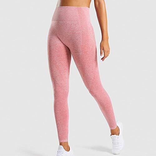 B/H Stretch Elastique Dames Pantalon De Yoga,Legging Stretch Taille Haute, Legging de Sport Requin sans Coutures-Rose_M