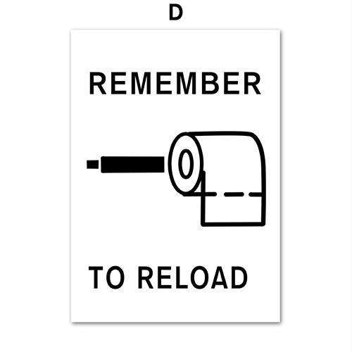 SDFSD Toilettenpapier Zahnpasta Zahnbürste Zitate Wandkunst Leinwand Malerei Nordic Poster und Drucke Wandbilder für Waschraum WC Dekor D 55x75cm
