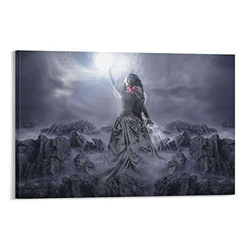 Rock Brunette Girl Poster Decorative Painting Canvas Wall Art Living Room Posters Bedroom Painting,Canvas Art Poster and Wall Art Picture Print Modern Family bedroom Decor Posters 20×30inch(50×75cm)
