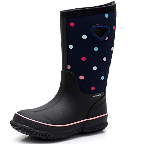 winter rubber boots SOLARRAIN Girls' Neoprene Rubber Waterproof Rain Boots for Kids Non Slip Mud Boots Winter Warm Outdoor Durable Snow Boots
