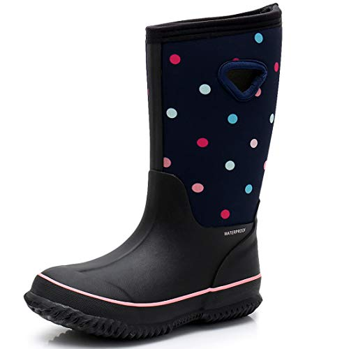 SOLARRAIN Girls' Neoprene Rubber Waterproof Dot Snow Boots Winter Warm Kids' Outdoor Durable Rain Shoes (Big Kid 5M US, Colored dot)