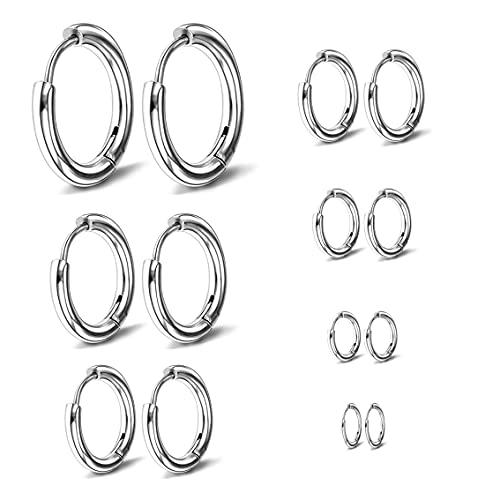 7 pares de pendientes de aro de acero inoxidable, anillos nasolabiales, accesorios de pendientes de aro de cartílago pequeño masculino y femenino 8 mm 10 mm 12 mm 14 mm 16 mm 18 mm 20 mm (Plata)