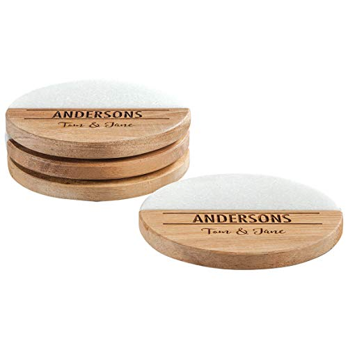 Personalized Marble and Wood Coasters, Custom Engraved Beverage Coasters, Round Set of 4