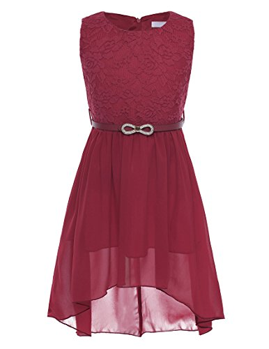 CHICTRY Ärmellos Prinzessin Kleid Mädchen Lace Chiffon Partykleid Festkleid Blumenmädchenkleid Hochzeit festlich Kleider Festzug Gr. 116-164 Burgundy 152