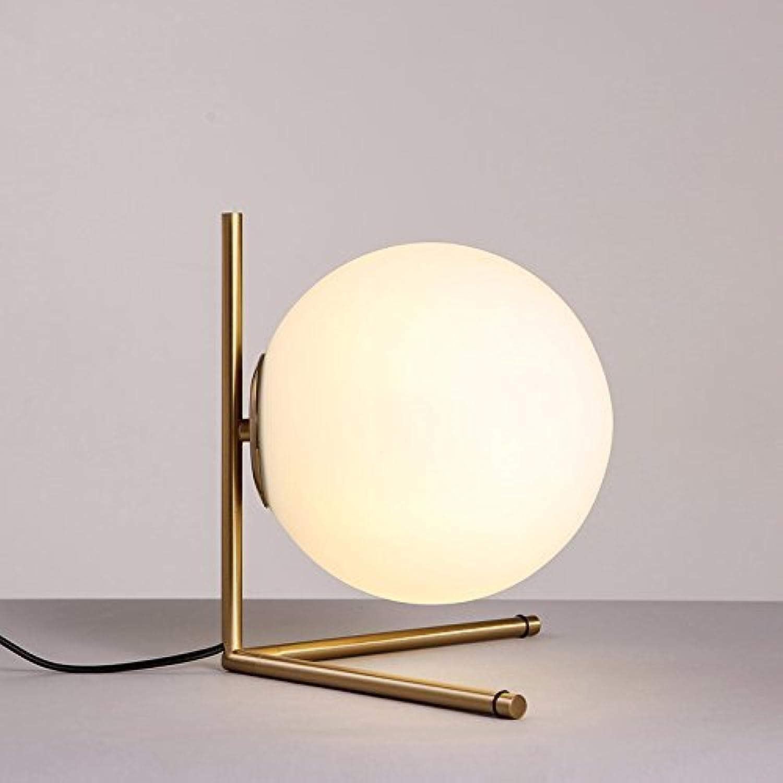 Vampsky Moderne Einfache Globus Glas Schreibtischlampe Schatten Licht Luxus Kreative Ball Mond Tischlampe Metall Schlafzimmer Nachttischlampe Wohnzimmer Studie Büro E27 Front Desk Lampe Tischleuchte