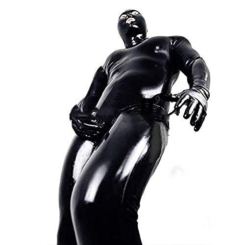 Herren Sexy Lack Leder Dessous Kostüm Erotische Kleidung Latex Catsuit PVC Body Overall fur Clubwear Schrittreiß Verschluss,XXL