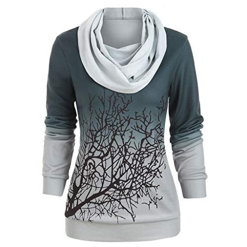 Zegeey Pullover Rollkragen Langarm Damen LäSsige Herbst Winter Langarmshirt Basic Tunika Outwear Sweatshirt Oberteil T-ShirtTop Bluse(Grün,36 DE/L CN)