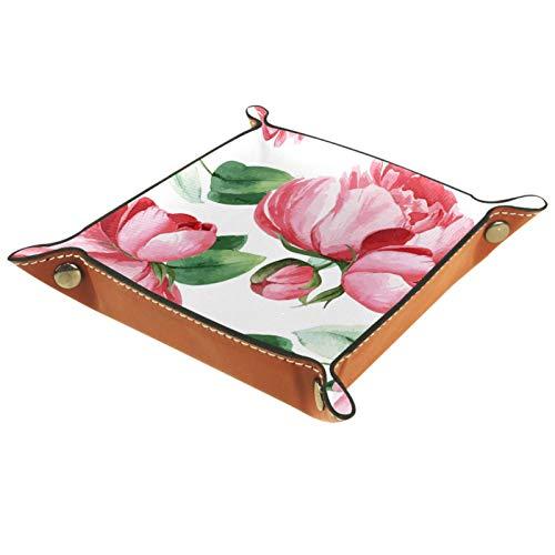 ZDL Caja de almacenamiento con diseño de flores de peonía, color rosa botánico, organizador para llaves, teléfono, moneda, cartera, relojes, etc. 20.5 x 20.5 cm