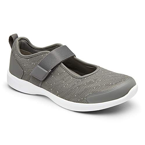 Vionic Women's Jessica Mary Jane Sneaker - Walking Shoes with Hook and Loop Closure and Concealed Orthotic Arch Support Charcoal 5 Medium US