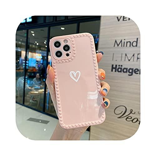 Suave amor corazón caramelo teléfono caso para iPhone 11 12 Pro Max 6 6S 7 8 Plus XR X XS MAX SE mini fundas protectoras cubierta-rosa para iPhone XR