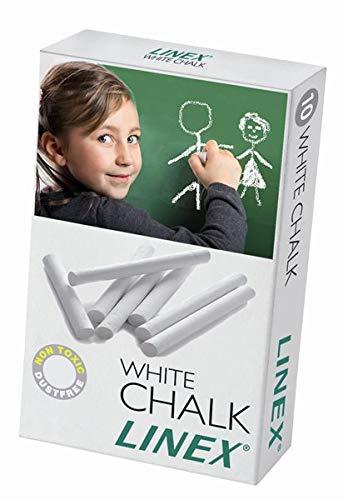 Linex 100412202 Tafelkreide weiß 10 Stück in einem Paket Wandtafel-Kreide staubfrei