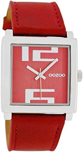 Oozoo Damenuhr mit Lederband 34 MM Quadratisch Rot/Rot C6507