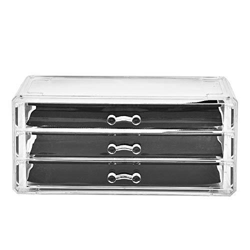 OIHODFHB Cajones de escritorio de maquillaje transparente de 3 niveles para mesa de almacenamiento de cosméticos