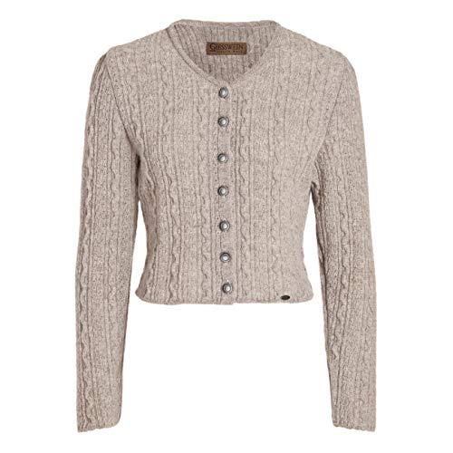 GIESSWEIN Strickjacke Gerhild - Damen Strick Jacke aus 100% Schurwolle, taillierte Dirndljacke, kurzes Jäckchen mit Zopfmuster, Dirndl Jacke, Damen Trachtenjacke