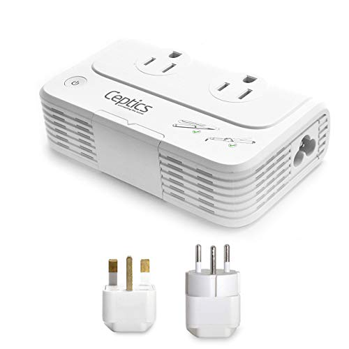 Israel, Jordan Voltage Converter by Ceptics, Convert 220 V to 110V for Devices Like Curling Iron, Straightener, Chargers, Step Down World Power Plug 4 USB Charging Fast QC 3.0 Type H, C & G