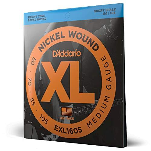 D'Addario EXL160S Nickel Wound Bass Guitar Strings, Medium, 50-105, Short Scale