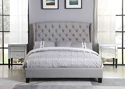 Best Master Furniture Yvette Upholstered Tufted with Wingback Platform Bed California King, Grey