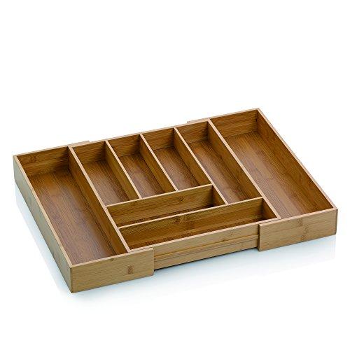 Kela 12013 Range Couverts Extensible en Bambou, 8 Compartiments, 35-58x43x6,5 cm, 'Kalma'