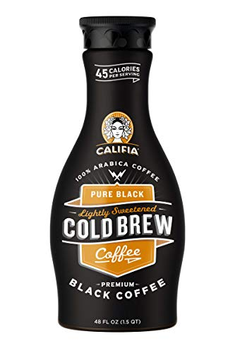 Califia Farms Pure Black Unsweetened Blonde Roast Cold Brew Coffee, 48 Oz (Pack of 2)   Premium Arabica   Dairy Free   Keto   Whole30   Plant Based   Nut Milk   Vegan   Non-GMO