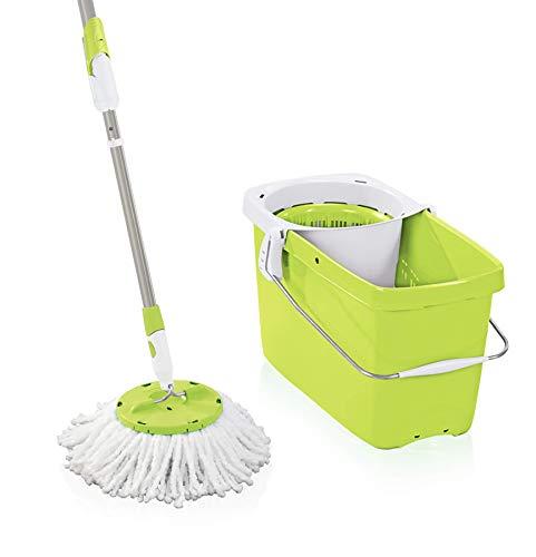 Leifheit Set Clean Twist Wischer Color Edition Green, für nebelfeuchte Reinigung, Wischmop mit Schleudertechnologie, Schleudermop ohne Fußbedienung, Bodenwischer mit Mikrofaser Bezug und Click-System