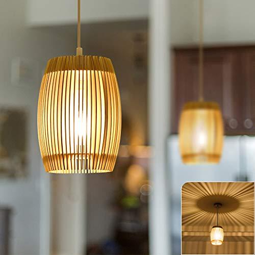 DLLT Pendelleuchte aus Holz, Klassischer retro Hängeleuchten, Holz Handarbeit 8W E27 Hängelampe für Essenzimmer, Restaurant, Wohnzimmer, Schlafzimmer