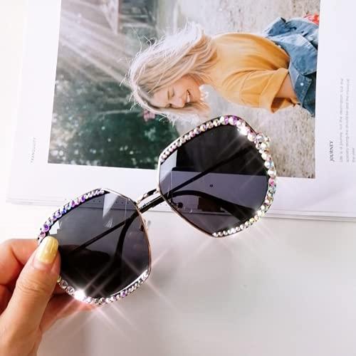 Qtlsgh Moda Colorido Punto Manual Diamante Gafas de Sol Gafas de Sol de Moda Retro Gafas de Sol de señora Masculina