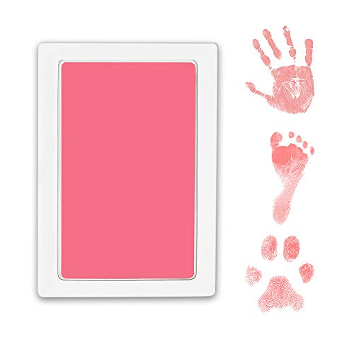 WEWESGAO Baby Handprint and Footprint Kit, 2 Pack Large Pet Paw Print Kit Clean Touch Ink Pad for Newborn,Baby,Toddler and Pet - with 4 Cards(Pink, Large Size)