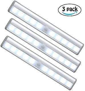 Motion Sensor Night Light, Derlson Wireless Under Cabinet Light Closet Light, LED Night Light for Stair Hallways Garage -Battery Operated 3 Pack Cool Light