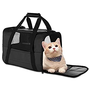 NAT Dog Carrier Cat Carrier Pet Carrier, Airline Approved Dog Carrier with Mesh Window, Breathable, Collapsible, Soft-Sided, Escape Proof, Easy Storage, Best for Small Medium Cats Dogs