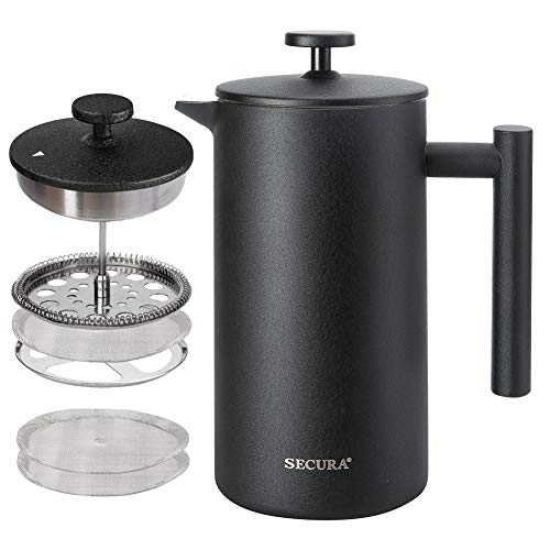Secura French Press Kaffeebereiter, 304 Edelstahl, isolierte Kaffeepresse mit 2 extra Sieben, 1 Liter, Schwarz