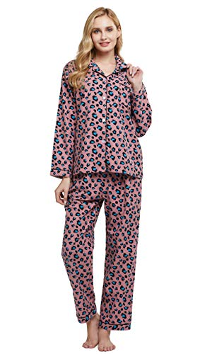 TONY & CANDICE Women's 100% Cotton Long Sleeve Flannel Pajama Set Sleepwear (Large, Pink and Blue Leopard)