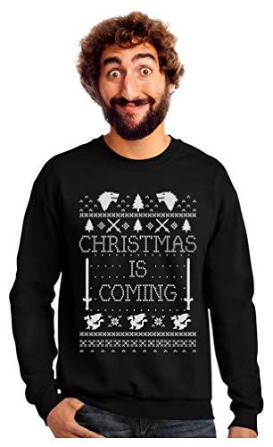 Tstars - Christmas is Coming Ugly Christmas Sweater Sweatshirt Large Black