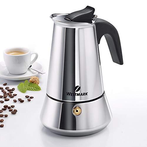 Westmark Espressokocher, Für 6 Espressotassen, Edelstahl, Brasilia Plus, Silber/schwarz, 24682260