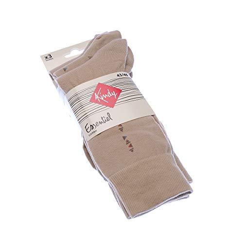 Socke über das Kalb - 3 pack - ohne Frotte - Chaude - Coton - Beige - Essentiel - 43/46