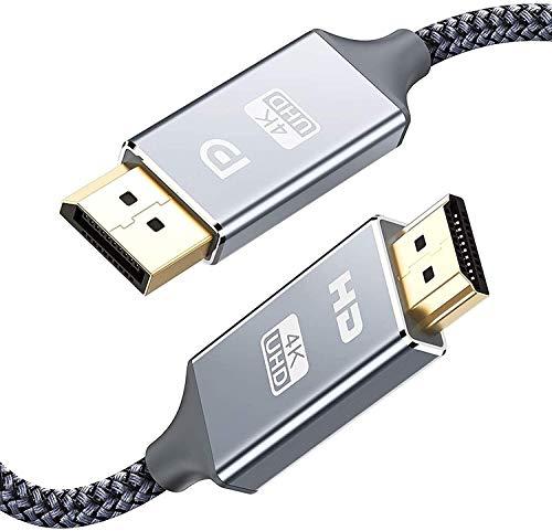 4K DisplayPort auf HDMI Kabel1.8m,DP für HDMI Verbindungskabel Nylon Geflochtener,Snowkids DisplayPort zu HDMI UHD für HDTV,Monitor,Laptop,PC,Beamer