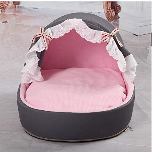 MRQXDP Dog Puppy Bed Princess Soft Warm Pet Winter House Bella e Confortevole Cuccia per Cuccia per Gatti 52x42x39cm Grigia