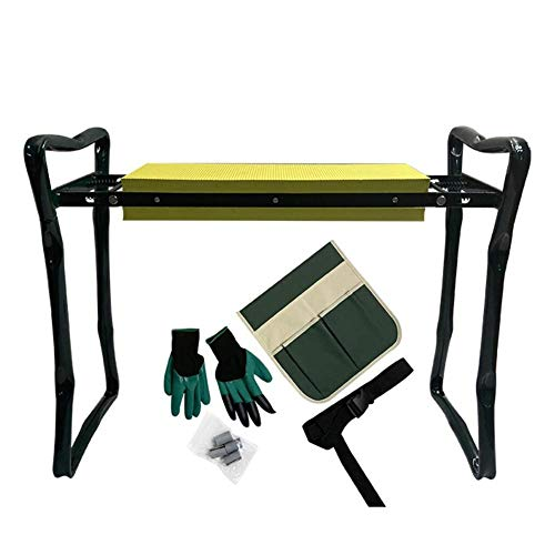 N/L Folding Garden Kneeler and Seat Garden Bench Lightweight Garden Stools with Tool Pouch and Soft Kneeling Pad,Eva Foam Garden Seat Kneeler with Pad Protects Your Knees