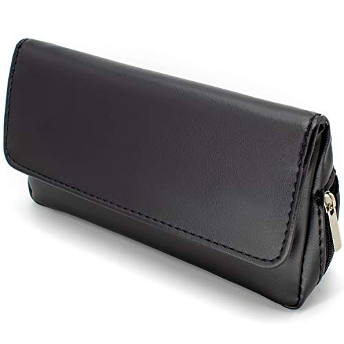 AKORD Soft Black Nappa Leather Tobacco Pouch with Rubberised Lining 50 g