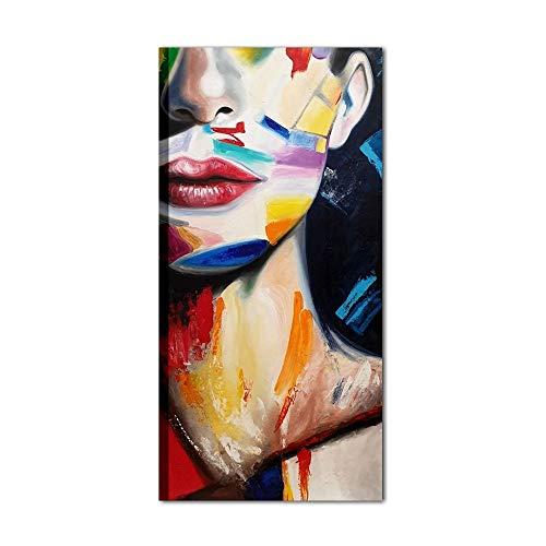 I Colori del Caribe Quadri Moderni Dipinti A Mano Quadro Moderno Acrilico su Tela Alta QUALITA' Made in Italy Volto di Donna per Salone Ufficio Divano Soggiorno - Nancy