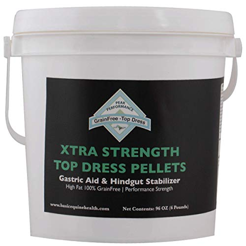 Gut Health Horse Weight Gain Supplement - Xtra Strength Peak Performance Top Dress Pellets (6 lbs) - Ulcer Aid for Horses That Promotes Weight Gain, Hoof Growth, Improved Mood, and Coat
