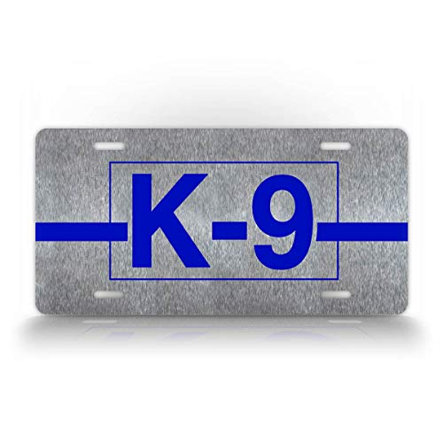 SignsAndTagsOnline K-9 Law Enforcement Police License Plate Silver and Blue K-9 Dog Auto Tag